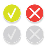Line green check mark or check box icons set Royalty Free Stock Image