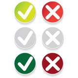 Line green check mark or check box icons set Royalty Free Stock Photography