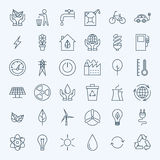 Line Green Energy Eco Icons Set Stock Image