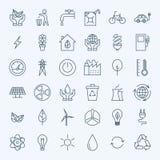 Line Green Energy Eco Icons Set Stock Image