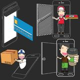 On line Grocery Ordering,Smart phone Delivery. Stock Photography