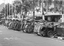 A line group of pedicap at jogja yogyakarta indonesia. Java Royalty Free Stock Photos