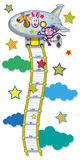 Line growth for children. The range measured by the growth of children in the form of cable ladders leading to the plane. Vector illustration Stock Image