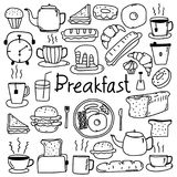 Line Hand Drawn Doodle Vector Breakfast Set. Vector Illustration Royalty Free Stock Photo