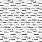 Line Hand Drawn Fish Pattern. Royalty Free Stock Image