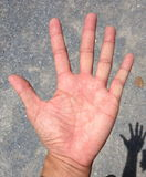 Line on hand.The predict the fate of palmistry. Stock Photography