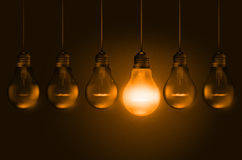 Line of hanging realistic unlit and lit bulbs Stock Photography