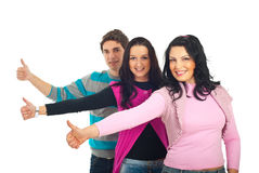 Line of happy casual people give thumbs royalty free stock image
