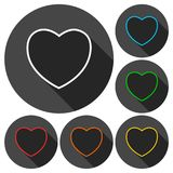 Line Heart icons set with long shadow Royalty Free Stock Photography