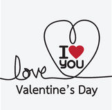 Line heart and Valentines card Royalty Free Stock Image