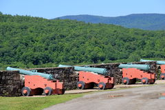 Line of heavy artillery on the Hudson River,Fort Ticonderoga,New York,2015 Stock Images