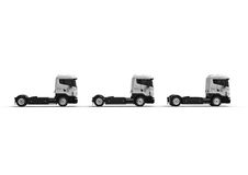 A line of Heavy white trucks isolated on white. 3D render image representing a line of Heavy white trucks isolated on white Royalty Free Stock Photo
