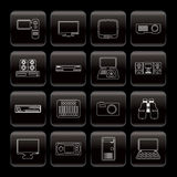Line Hi-tech equipment icons Stock Photography