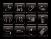 Line Hi-tech technical equipment icons Stock Images