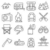 Line Hiking and Camping Icons Set. Vector royalty free stock images