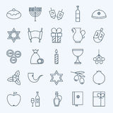 Line Holiday Happy Hanukkah Icons Set Stock Images