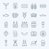 Line Holiday Oktoberfest and Beer Icons Set Stock Image