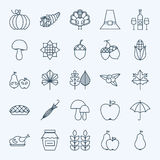 Line Holiday Thanksgiving Day Icons Set. Vector Set of 25 Autumn Seasonal Holiday Modern Line Icons for Web and Mobile. Thanksgiving Dinner Food Icons Stock Photography