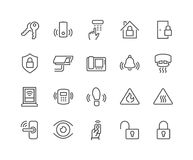 Line Home Security Icons Royalty Free Stock Photo