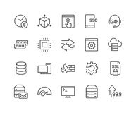 Line Hosting Icons. Simple Set of Hosting Related Vector Line Icons. Contains such Icons as SSD Disk, Control Panel, Traffic, Firewall and more. Editable Stroke Stock Images
