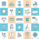 25 line hotel services icons. Color block. Logo, glyphs and pictogram collection. Vector Stock Photo