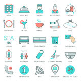 25 line hotel services icons. Logo, glyphs and pictogram collection. Vector Royalty Free Stock Images