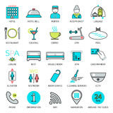Line hotel services icons. Logo, glyphs and pictogram collection. Vector Royalty Free Stock Photo