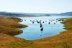 Line of Houseboats. A line of houseboats on the New Melones Lake in California Stock Photography