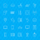 Line Household Icons. Vector Illustration of Outline Appliances Symbols over Polygonal Background Stock Photography