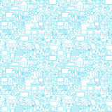 Line Household White Seamless Pattern Stock Images