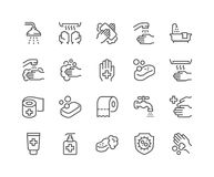 Line Hygiene Icons Stock Photo