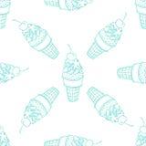 Line ice cream seamless pattern Stock Photo
