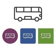 Line icon of bus. In different variants vector illustration