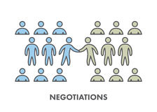 Line icon business negotiation. Vector business symbol. Logo and banner Stock Photos