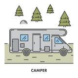 Line icon camper in color Stock Photos