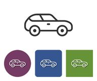 Line icon of car. In different variants royalty free illustration