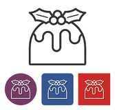 Christmas pudding line icon. Line icon of  Christmas pudding  in different variants Royalty Free Stock Images
