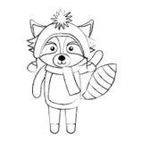 Line icon christmas raccoon cartoon Royalty Free Stock Photo
