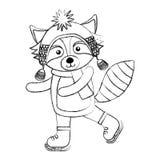 Line icon christmas raccoon cartoon Royalty Free Stock Images