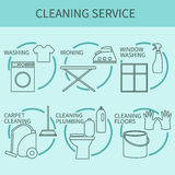 Line icon of cleaning service, logo for web banners, web sites Stock Image