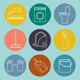 Line icon of cleaning service for web banners, web sites Royalty Free Stock Photography