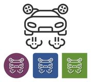 Line icon of flying car. In different variants vector illustration