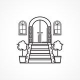 Line icon for front door Stock Photo