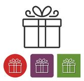 Line icon of gift box. In different variants stock illustration