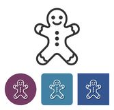 Gingerbread man line icon. Line icon of gingerbread man in different variants with long shadow stock illustration