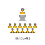 Line icon graduates. Vector linear symbol for students Royalty Free Stock Image