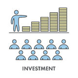 Line icon investment and finance. Vector business symbol Stock Photos