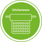 Line icon. Kitchenware. Element of the logo. A colander in the green circle, isolated image Royalty Free Stock Photos