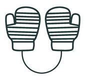 Line icon mittens. Sports equipment. Winter clothes Royalty Free Stock Photography