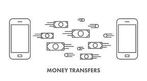 Line icon money transfer. Vector business symbol Royalty Free Stock Image